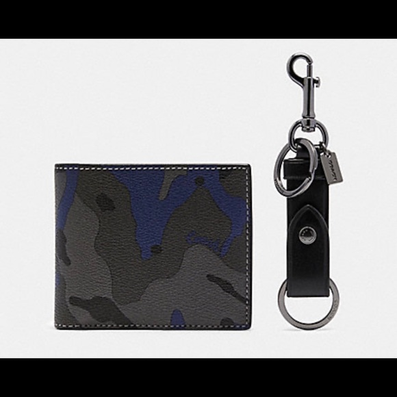 Men's Coach camo wallet and key fob set - gift box